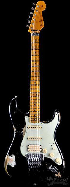 Fender 1960 stratocaster White Lightning Spec Heavy Relic Black