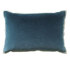 """The Giorgio Linen Flange pillow is made with a 100% cotton velvet front and a 1/2"""" linen flange.  Color: Giorgio Prussian with Slubby Flax"""