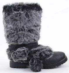Amazon.com: Super Furry Pom-Pom Leather Mid-Calf Combat Boot Black $45
