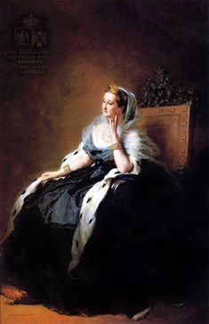 Portrait of Eugenia de Montijo, Empress of the French. by Franz Xaver Winterhalter married to Napoleon III Franz Xaver Winterhalter, Portraits, Portrait Art, Maria Eugenia, Reine Victoria, French Royalty, French History, Second Empire, Modern History