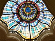 Beautiful stained glass ceiling in Iparművészeti Múzeum (Museum of Applied Arts), Budapest, Hungary