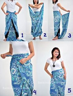 How to tie a sarong -Indonesian Style Siminyun's Story: Cara Pakai Kain Bati. - Gale H. Batik Fashion, Hijab Fashion, Diy Fashion, Womens Fashion, Batik Kebaya, Batik Dress, Ways To Wear A Scarf, How To Wear Scarves, Diy Couture Foulard
