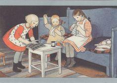 *Martta Wendelin illustration* Books For Moms, Art For Art Sake, Felt Dolls, Vintage Pictures, Book Illustration, Christmas Art, Vintage Cards, Vintage Prints, Vintage Sewing