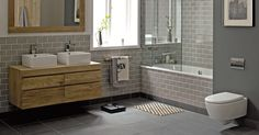 Retro Metro Holland Park Tiles with Logic bath and Oslo basin units    http://www.firedearth.com/beinspired/index/view/id/6