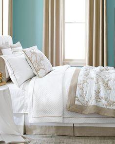 Quiet Luxe Bedroom - Garnet Hill - swap the colors---beige walls with blue accent Master Bedroom Bathroom, Dream Bedroom, Dream Rooms, Toile Bedding, Cute Furniture, Devine Design, Traditional Bedroom, Beige Walls, Diy Bed