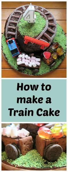 Your child will love this train cake, complete with Thomas the tank engine. Turn a simple chocolate cake into a showstopper with biscuit carriages filled with sweets and a hill complete with train track. It is also completely milk, egg and nut free if you Dairy Free Birthday Cake, Birthday Cakes, 2nd Birthday, Birthday Ideas, Birthday Lunch, Dairy Free Oreos, Gluten Free, Thomas Tank Engine Cake, Digger Cake