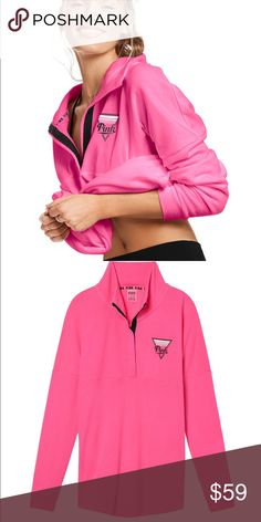 Large PINK Varsity Quarter Snap A must-have pullover with cool snap-up neckline. Fits like your fave Varsity Crew, with a comfy tunic length. Just add leggings for a cool, casual look. Only by Victoria's Secret PINK  Tunic length Quarter snap  Mock neck soft fleece Oversized Imported cotton/polyester PINK Victoria's Secret Sweaters