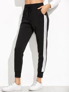 cf1816dca Buy Black Striped Side Sweat Pants from abaday.com, FREE shipping Worldwide  - Fashion