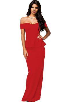 Red Peplum Maxi Dress With Drop Shoulder