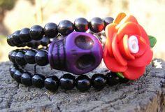 The Original Day of the Dead Sugar Skull Bracelet 3 Loops Wrap Around Memory Wir #Wrap