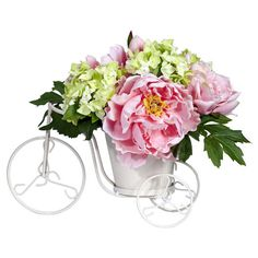 Showcasing lush blooms in a white tricycle planter, this faux peony & hydrangea arrangement offers charming appeal for your living room or parlor.  ...