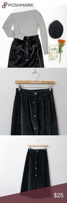 Vintage Neiman Marcus Velvet Skirt Luxe vintage black suede skirt from Neiman Marcus. Buttons down the front. In perfect condition   Marked size 10; Waist 26 length 33 inches Neiman Marcus Skirts