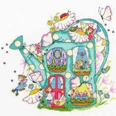 image of Fairy Watering Can Cross Stitch Kit