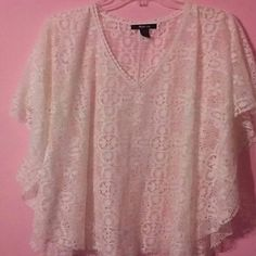 GORGEOUS. ALL LACE BUTTERFLY SLEEVES Very Pretty Lace Blouse. Wear over a Cami. Or bathing suit.  Open sleeves flow like Butterfly wings. Feminine and Graceful.  Dress it up or relax in luxury. Style & Co Tops