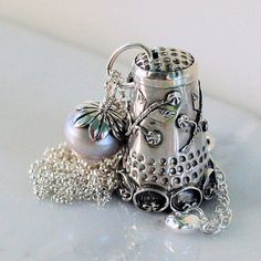 Peter Pan and Wendy Thimble and Acorn Kiss Necklace in Solid Sterling Silver