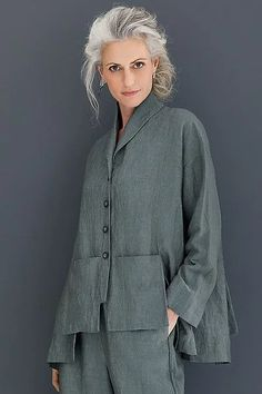Temple Jacket by Spirithouse . The epitome of artful sophistication. With extraordinary architectural details like stepped and notched hems and vented patch pockets, this striking jacket exudes confidence and distinction. Grey Fashion, Fashion Outfits, Womens Fashion, Fashion Design, Style Casual, My Style, Moda Chic, Layered Fashion, Advanced Style