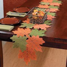 Leaves Table Runner - OrientalTrading.com Table Runner Size, Quilted Table Runners, Fall Table Runner, Paper Leaves, Felt Leaves, Autumn Fall, Autumn Harvest, Autumn Leaves, Felt Decorations