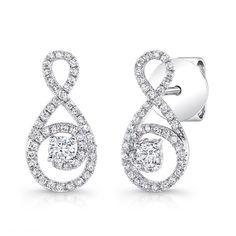 Petite Bouquet Collection 14K White Gold Diamond Earrings LVEJ07 - From the Petite Bouquet collection amazing 14K white gold earring set with 94 round diamonds with total weight of 0.42 ct.