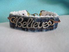 believe denim wrap bracelet-wrist band-denim bracelet-inspiration bracelet-believe bracelet Denim Bracelet, Fabric Bracelets, Lace Bracelet, Fabric Jewelry, Boho Jewelry, Jewelry Crafts, Beaded Jewelry, Cuff Bracelets, Handmade Jewelry