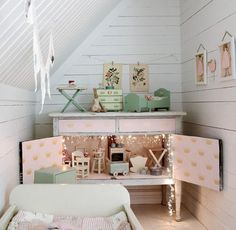 mommo design: 10 TINY ROOMS Love the cabinet - could use the igea for play area in family room! Interior Inspiration, Room Inspiration, Deco Pastel, Deco Kids, Little Girl Rooms, Kid Spaces, Small Spaces, Kids Decor, Girls Bedroom