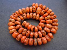 Antique Orange Coral Beads by lostcitiesbeads on Etsy