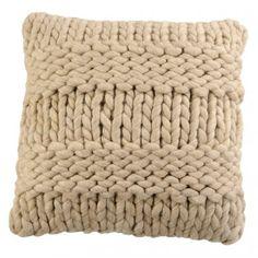 5 rows and 5 rows, great cushion idea. Coussin Tricot beige 45X45Cm Beige Laine : Jardin d'Ulysse, vente Coussins Beige Laine