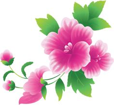 Large Pink Flowers Clipart