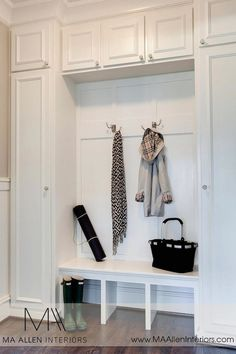 MA Allen Interiors: fabulous mud room design with floor to ceiling white cabinets and white built-in bench ...