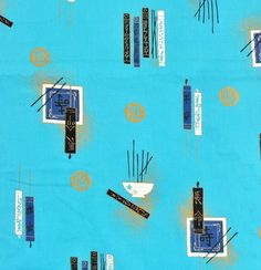 Vintage Alfred Shaheen 'Cathay' Asian-inspired handprinted cotton fabric measuring 106 long or just under 3 yards by 38 wide.Turquoise blue background with modernist design of joss sticks, inc Vintage Hawaiian, Vintage Sewing Patterns, Blue Backgrounds, Yards, Sticks, 1950s, Cotton Fabric, Asian, Turquoise