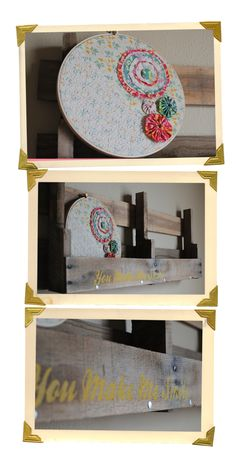 Cute embroidery hoop art and shelf