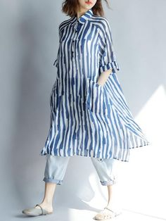 Comfortable Blue Stripe Split-side Blouses Shirt in 2020 Pakistani Fashion Casual, Pakistani Dresses Casual, Pakistani Dress Design, Indian Fashion, Korean Fashion, Stylish Dresses, Casual Dresses, Fashion Dresses, Summer Dresses
