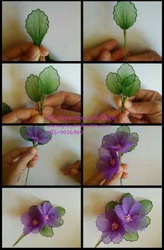 ที่คาดผมดอกไม้ผ้าใยบัว (flower headband) by fb:ployandpoom