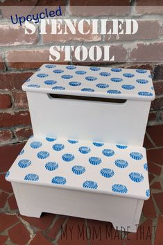 Fun Patterned and Stenciled Kids Step Stool for Bathroom - Beach Shell Decor - Royal Design Studio Furniture Stencils