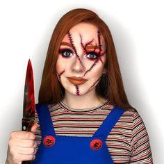 Chucky Halloween, Halloween Makeup Looks, First Halloween, Halloween Outfits, Facepaint Halloween, Halloween 2020, Chucky Makeup, Chucky Face, Scary Face Paint