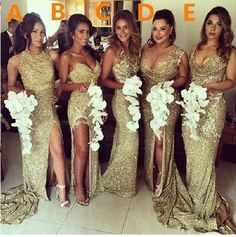 Gold Sequin bridesmaid dresses, Mermaid bridesmaid dresses, long bridesmaid dresses, mismatched bridesmaid dresses, sexy bridesmaid dresses, 17074
