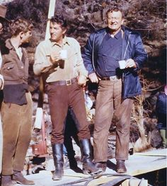 February 1965; Dean Martin and John Wayne on location in Durango, Mexico, working on 'The Sons of Katie Elder'