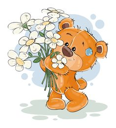 Buy Brown Teddy Bear Holding Flowers by vectorpocket on GraphicRiver. Vector illustration of a brown teddy bear holding a bouquet of flowers in his paws. Print, template, design element f. Tatty Teddy, Brown Teddy Bear, Cute Teddy Bears, Nici Teddy, Pictures To Draw, Cute Pictures, Art D'ours, Cartoon Mignon, Art Mignon