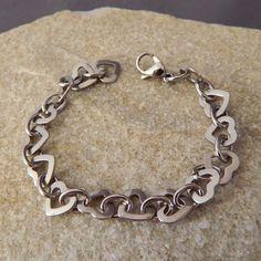 Stainless Steel Heart Link Bracelet by WireNWhimsy on Etsy https://www.etsy.com/listing/176255893/stainless-steel-heart-link-bracelet