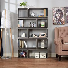 Distressed grey bookcase. Love this. Distressing your home on a budget. (affiliate link)