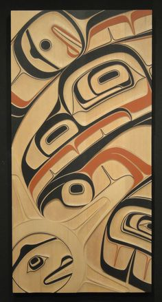 Phil Gray - Raven & Sun Panel - Carvings at the Spirit Gallery : Horseshoe Bay, West Vancouver