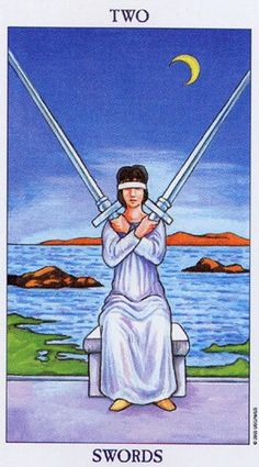 Detailed Tarot card meaning for the Two of Swords including upright and reversed card meanings. Access the Biddy Tarot Card Meanings database - an extensive Tarot resource. Diy Tarot Cards, What Are Tarot Cards, Tarot Gratis, Two Of Swords, Tarot Significado, Tarot Cards For Beginners, Rider Waite Tarot, Tarot Astrology, Tarot Card Meanings