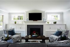 how to incorporate built-ins with windows flanking a fireplace
