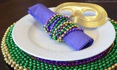 Party Ideas by Mardi Gras Outlet: Mardi Gras Table Decorations-3 Simple Napkin Ring Ideas