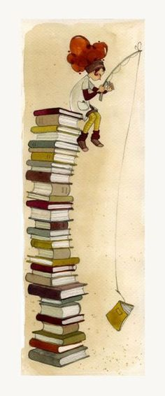Cute illustration f girl on top of books. WI wonder who the artist is. Reading Art, I Love Reading, I Love Books, Books To Read, Foto Gif, World Of Books, Book Nooks, Book Illustration, Book Lovers