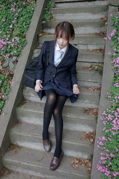 School Uniform Outfits, School Girl Outfit, Girl Outfits, Women Wearing Ties, Uzzlang Girl, China Girl, High School Girls, Black Stockings, Black Tights