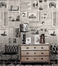Newspaper Wallpaper New York Times Nostalgic Wall Art Black & White Poster Wall…