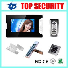 Free Shipping 7inch Video Doorphone Video Doorbell System Include Electric Magnetic Lockzl Bracketinfrared Exit Button Affiliate