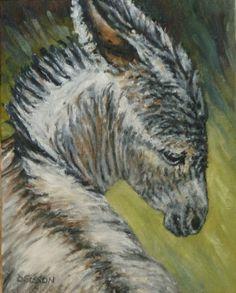 Christmas BurroOil Painting Pet Art Portrait Donkey Farm Animal, painting by artist Debra Sisson