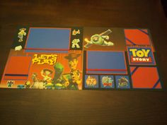"""This is a 2 page 12 x 12 scrapbook layout featuring the characters from Toy Story titled """"Let's Play!"""" This layout would be great to"""