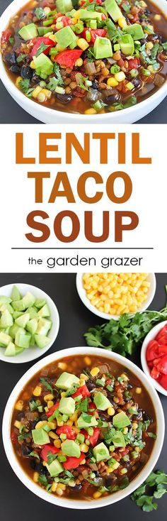 SUPER EASY and incredibly flavorful Lentil Taco Soup!! Great meal for kids and crowds! Everyone can load it up with their own favorite taco toppings! (vegan, gluten-free)